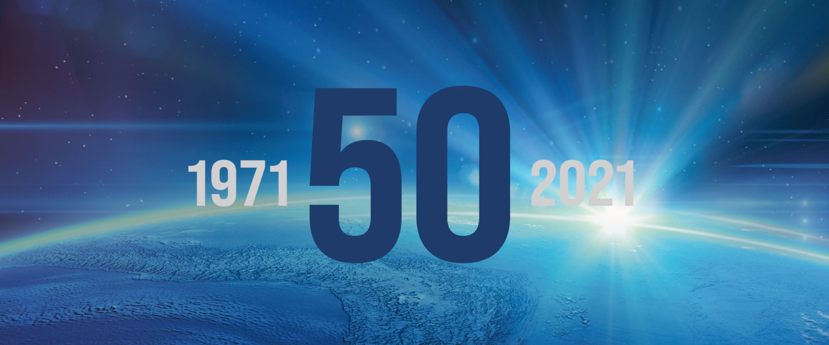 Video Animation of Globe and the 50th Anniversary section title. Shows flying images of the Team's projects and innovations through the years